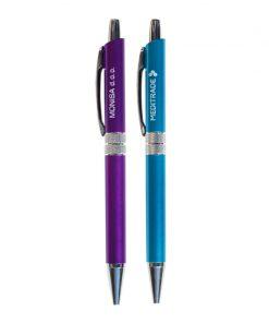 Pisalo WM19 v vijolični in modri barvi ohišja z srebrnim modnim obročkom na sredini.